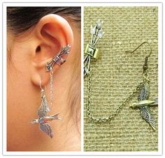 Bird Arrow Earring - Antique Silver/Bronze Quiver Cluster Arrows Dangle Mockingjay Bird Chain Ear Cuff Clip Stud Wrap Earrings PIERCING