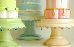 Choose from our lush glazes to mix,   match and artfuly blend into a festive  dessert setting.  Fun & funtional for   everyday dining these jems will bring   joy long after the party is over.    http://www.clarafrench.com/index2.php?v=v1