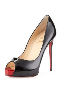 In addition to a distinctively sexy aesthetic, Christian Louboutin shoes are also instantly recognizable for their vibrantly red-lacquered soles. About Christian Louboutin CL Very Prive Patent Red Sole Pump. Black High Heel Pumps, Pumps Heels, Red Pumps, Louboutin Pumps, Stilettos, Red Sole Heels, Blush Heels, Women's Heels, Red Patent Leather Pumps