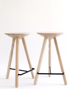 Luco Stool The traditional three-legged stool is the most stable and basic stool. Luco reflects an archetypical idea whilst integrating a contemporary sense. A craftsman with a lathe and a carpenter using CNC technology collaborate in production. The seat and legs of Luco are made of beech wood and the footrest of painted iron. Luco is available in three heights and has been designed and manufactured to withstand heavy use in public areas.