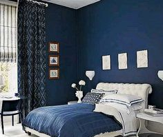 I'm going to paint my bedroom a dark blue similar to this with a white tree of gondor :)