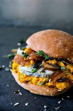 Pumpkin Pesto, Date and Ripe Chèvre Sandwich