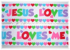 JESUS LOVES ME Easter grosgrain ribbon  7/8 or by omygoshgoodies