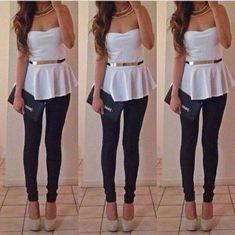 Tank top: white, gold, peplum top, jewels, belt, shoes, pants ...