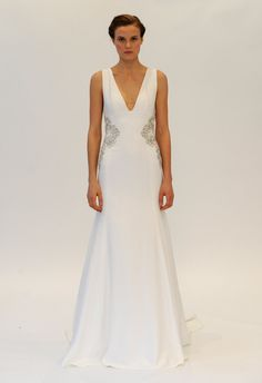 Deep V-Neck Fit-n-Flare Wedding Dress | Lela Rose Fall 2014 | Kurt Wildering/The Knot | The Knot Blog