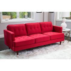 Abbyson Clinton Mid Century Tufted Sofa (Red) (Fabric)