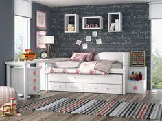 Espacio con cama compacta juvenil con zona estudio