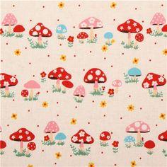 natural-colored Kokka mushroom toadstool fabric from Japan 1