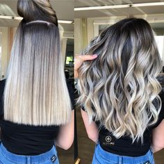 Brown Ombre Hair, Brown Blonde Hair, Ombre Hair Color, Brunette Hair, Blonde Hair With Dark Roots, Brown To Blonde Hair Before And After, Blonde Highlights On Dark Hair Short, Dark Brown To Blonde Balayage, Blonde Honey