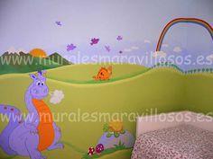 Murales infantiles de dragones, castillos y hadas pintados en paredes lisas o gotelé por www.muralesmaravillosos.es INFORMACIÓN WHASSAP O TELÉFONO 627719308 Estamos en Madrid pero pintamos en toda España Toy Chest, Storage Chest, Madrid, Toys, Furniture, Home Decor, Castles, Faeries, Dragons