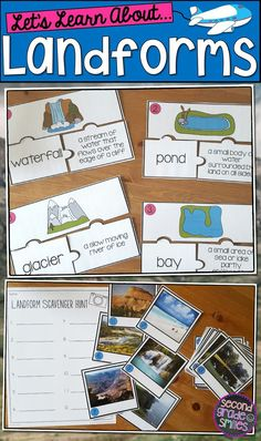 Teach your students to recognize and think critically about landforms and their characteristics with these fun activities! Included are hills, mountains, valleys, canyons, cliffs, plateaus, islands, caves, volcanoes, sand dunes, peninsulas, beaches, ponds, lakes, bays, streams, rivers, oceans, waterfalls, and glaciers. Great lesson plans for 2nd and 3rd grade! $