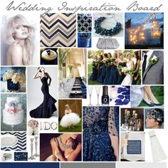 """Navy and Silver Wedding Inspiration Board"""
