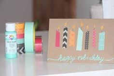 Washi Tape Geburtstagskarten basteln You are in the right place about diy birthday adult Here we offer you the most beautiful pictures about the diy birthday pictures you are looking for. Handmade Birthday Cards, Diy Birthday, Happy Birthday Cards, Card Birthday, Friend Birthday, Birthday Ideas, Birthday Gifts, Tarjetas Diy, Masking Tape