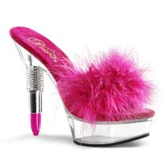 ROUGE-601F Lipstick Heel Mule Slide Sandal With Marabou Fur