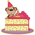 birthday monkey girl with cake