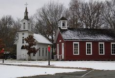 Museum Pieces by kay sparks on Capture Arkansas // This is the Lutheran Church and Prairie School replicas at the Museum Of The Arkansas Grand Prairie in Stuttgart. I loved the dusting of snow.  Taken 2012 with a SanyoVPC-E2100.