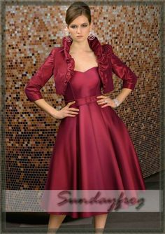 Hot sell pink chiffon a line tea length beadiing mother of for Tea length wedding dress with bolero jacket