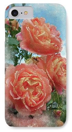 IPhone 7 Case featuring the photograph Soft Roses by Judi Saunders. Available in several models.