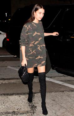 Hadid Gives This Risqué Street Style Trend Legs Camo sweatshirt dress with over-the-knee boots and a mini Alexander Wang bag.Camo sweatshirt dress with over-the-knee boots and a mini Alexander Wang bag. Street Style Trends, Street Style 2016, Style Casual, My Style, Casual Looks, Looks Party, Fashion Mode, Fashion Trends, Camo Fashion