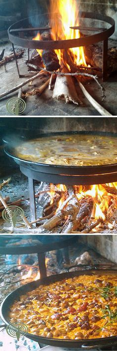 Paella. The real thing. Made together with friends. Traditionally cooked over a wood fire for extra flavor...