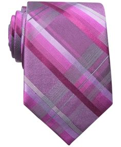 $21, Hot Pink Plaid Tie: Bar III Tie Chimp Plaid. Sold by Macy's. Click for more info: http://lookastic.com/men/shop_items/83226/redirect