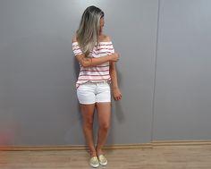 TPM Básica: Look ~> Blusa Ombro a Ombro com listras + alpargatas dourada