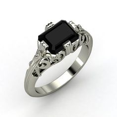 The Acadia Ring customized in black onyx and silver.