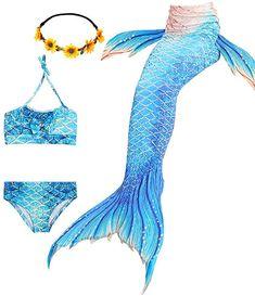 WWJZ 3 Pcs Girls Swimsuit Mermaid Tails for Swimming Princess Bikini Bathing Suit Set Can Add Monofin for Girls Mermaid Tail, Mermaid Swim Tail, Fin Fun Mermaid, Mermaid Tails For Kids, Mermaid Gifs, Mermaid Tale, Little Girl Gifts, Girls Swimming, Swimsuits