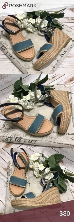 """Matisse Denim Espandrilles NWOT Matisse Denim espandriles with ankle buckle closure. Size 8. Has permanent marker writing on bottom from department store. Wedges measure 4"""" high. Matisse Shoes Espadrilles"""