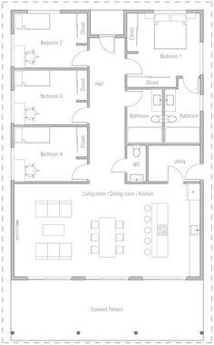 Bathroom closet design house plans 57 New Ideas 5 Bedroom House Plans, Floor Plan 4 Bedroom, Bungalow House Plans, Family House Plans, New House Plans, Dream House Plans, Small House Plans, House Floor Plans, Modern Floor Plans