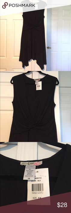 Love Squared asymmetrical hemmed dress Love Squared asymmetrical hemmed dress. Sleeveless v-neck with crisscross gather at front. Size 1X. 95% polyester 5% spandex. The perfect little black dress. Brand-new never worn. Love Squared Dresses