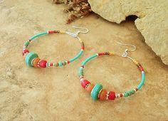 boho earrings, boho jewelry, colorful hoop earrings - Google Search