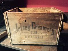 Vintage RARE Jersey Creamery Co Detroit Wood Beverage Milk Bottle Crate Box | eBay