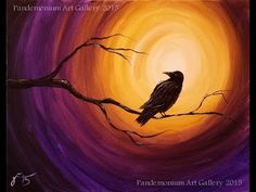 Midnight Raven Acrylic Step by Step Painting on Canvas for Beginners - YouTube
