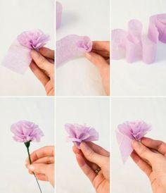 fleurs en papiers crepon