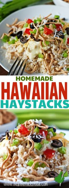 Homemade Hawaiian haystacks without any cream soups, these piles of rice, chicken gravy and lots of toppings are one of my very favorite meals. It may look like a jumbled mess of ingredients but they are so tasty and easy to put together. Hawaiian Haystack Recipe, Hawaiian Haystacks, Chicken Recipes, Hawaiian Recipes, Mexican Haystacks Recipe, I Love Food, Good Food, Yummy Food, Bon Appetit