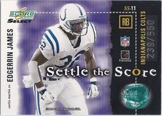 Edgerrin James Indianapolis Colts 2001 Score Select (Settle The Score) Card #SS-11 (239 of 550) *Back of Two Sided Card*