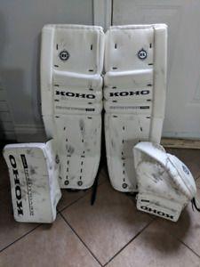 Koho Pro 589 Revolution Pro Goalie Pads All White 33 2 Hockey