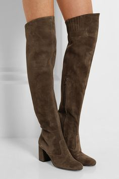 d3399ad74c232 Saint Laurent Stretch-suede over-the-knee boots Thigh High Boots