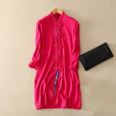 Women's silk/cotton knitting single breasted dress with Chinese button decor stand collar