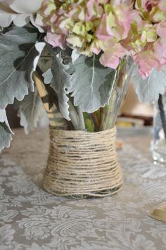 vases wrapped in twine