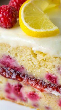Lemon Raspberry Cake More dessert Raspberry Lemon Cakes, Raspberry Recipes, Lemon Desserts, Lemon Recipes, Just Desserts, Delicious Desserts, Dessert Recipes, Raspberry Lemonade Cake, White Chocolate Raspberry Cake