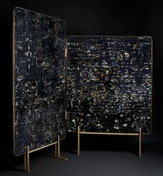 - Marcin Rusak has developed a technique of preserving dried and fresh flowers in black resin. He has applied this unique surface finish to some statement pieces of furniture such as this beautiful room divider and cast aluminum table. The effect is stunning.blog_marcin_rusak_screen
