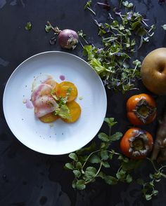 asian pear & persimmon salad w/ celery leaf & blood orange dressing // hungry ghost