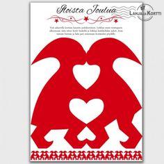 Joulukortti - askartelu - koriste - tontturakkautta -Tästä kortista voi halutessaan askarrella joulukoristeen!