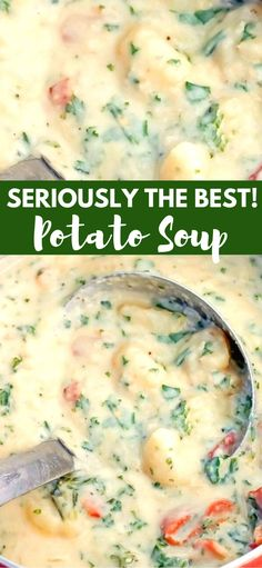 The Best Potato Soup…a thick , creamy, hearty soup that's absolutely delicious! The Best Potato Soup…a thick , creamy, hearty soup that's absolutely delicious! Best Potato Soup, Sweet Potato, Potato Stew Recipe, Cream Of Potato Soup, Baked Potato Soup, Vegetarian Recipes, Cooking Recipes, Hearty Soup Recipes, Potato Soup Vegetarian