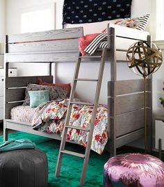 Our Wrightwood Bunk Bed has made it easier than ever to create the right look right away for any room in your home. The stunning Stained Grey finish allows the wood's natural grain to show through and makes the bed easy to coordinate with your other furniture and decor. And its slatted headboard and rounded edges give it a smooth, refined look. Best of all, it can be converted into two individual Twin Size Beds. Twin Bunk Beds, Kids Bunk Beds, Loft Beds, Floor Pillows Kids, Floor Cushions, Convertible Furniture, Bunk Bed Designs, Bedroom Designs, Bunk Rooms