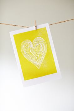 'Yellow Heart' card from original linocut Valentines Inspiration, Stamp Carving, Artist Inspiration, Linocut, Linocut Prints, Screen Printing Designs, Prints, Yellow Heart