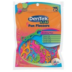 """Fruit Flavored Fun Flossers - While fruit flavored """"fun flossers"""", in kid-friendly neon colors  may not get your little ones to floss more, at least they'll have   fun each night, trying to figure out what flavor the blue ones are."""
