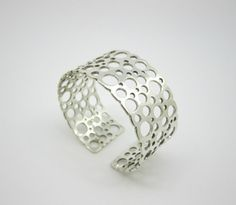 """Liisa Vitali for Westerback/Kultakeskus Oy (FI), vintage """"Pitsi"""" (Lace) sterling silver cuff bracelet, More pieces from this design series: a bangle bracelet, and a necklace. Bangle Bracelets, Bangles, Silver Jewelry, Vintage Jewelry, Sterling Silver Cuff Bracelet, Jewelry Stores, Bling, Wedding Rings, Finland"""